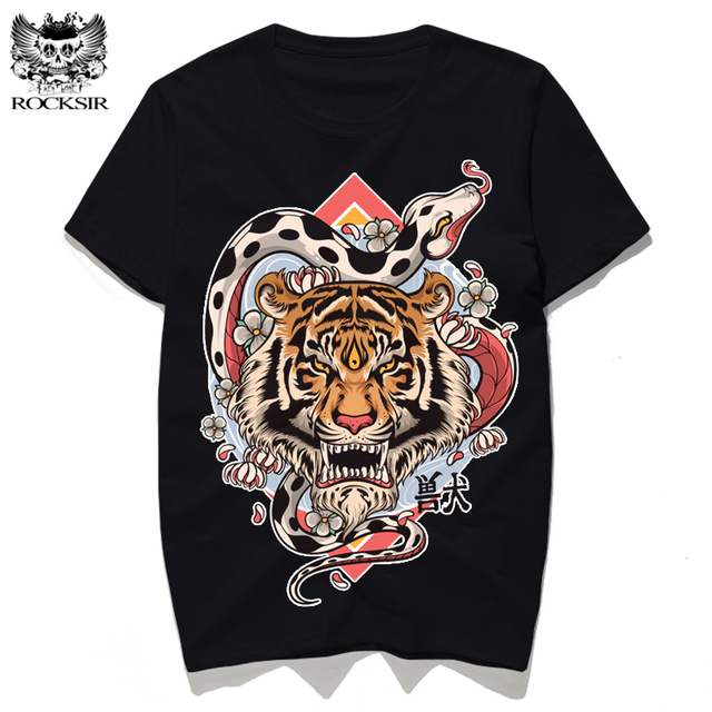 05e36635 Rocksir design Variation of tiger snake print Summer T-shirt men's T-shirts  Cotton tee shirt black T-shirts tshirt men t shirts