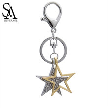 SA SILVERAGE Yellow/Silver Color Star Vintage Key Chains Crystal Car Accessories for Woman Bag Accessories Gifts New(China)