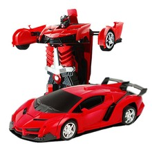лучшая цена Rc Transformer 2 in 1 RC Car Driving Sports Cars Drive Transformation Robots Models Remote Control Car RC Fighting Toy Gift