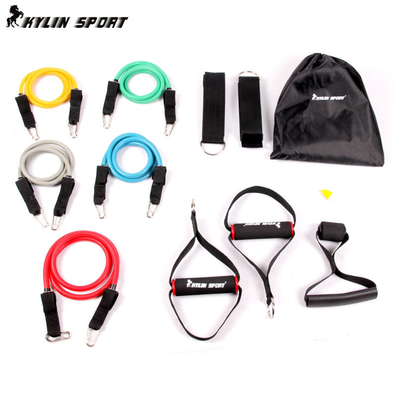 lima warna double-resistance band band resistensi multifungsi kit kekuatan latihan reli band lateks