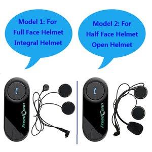 Image 2 - Freedconn 2 個オリジナルT COM fm bluetoothオートバイヘルメットインターホンインターホンヘッドセット + ソフトマイクのためのフルフェイスヘルメット