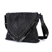 All-match Genuine Leather Women Handbags Designer Tassel Female Shoulder Bags Rivet Bag Woman Crossbody Bag Studs  Ladies