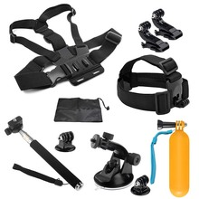 SHOOT Action Camera Accessories Set 8 in 1 Head Chest Strap Selfie Stick Collection bag For Go Pro Hero 5 3 4 SJCAM Xiao Yi 4k
