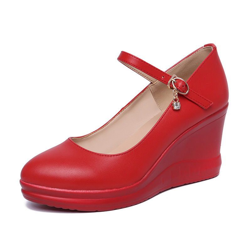 2019 Véritable Femme Zxryxgs Chaussures Cuir Marque De 33 Taille Noir Confort Talons Travail Pointu Compensées En rouge Mode 43 blanc Nouveau wXAFXq