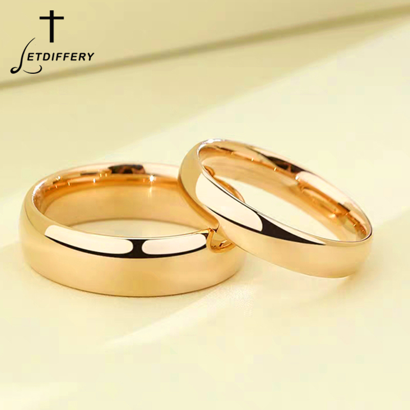 Letdiffery Smooth Stainless Steel Couple Rings Gold Simple 4MM Women Men Lovers Wedding Jewelry Engagement Gifts 1