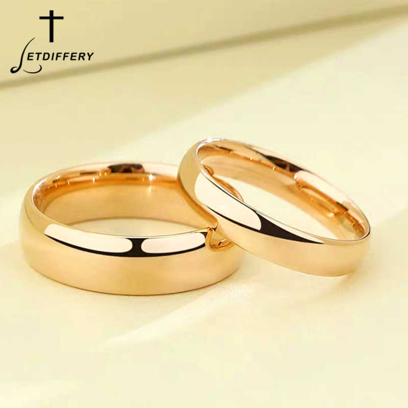 Letdiffery Smooth Stainless Steel Couple Rings Gold Simple 4mm Women Men Lovers Wedding Jewelry Engagement Gifts Aliexpress
