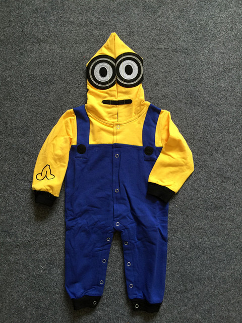 Infant Cotton Baby Clothes, Despicable Me Minions Baby Costume, Baby Boy and Girl Rompers, Summer long Sleeve Baby Disfraces