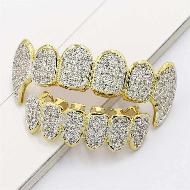 Men's Hip Hop Grill 6 Top Bottom Teeth Gold Silver Color Full Micro Pave Zircon GRILLZ Mouth For Men Women Rapper Body Jewelry
