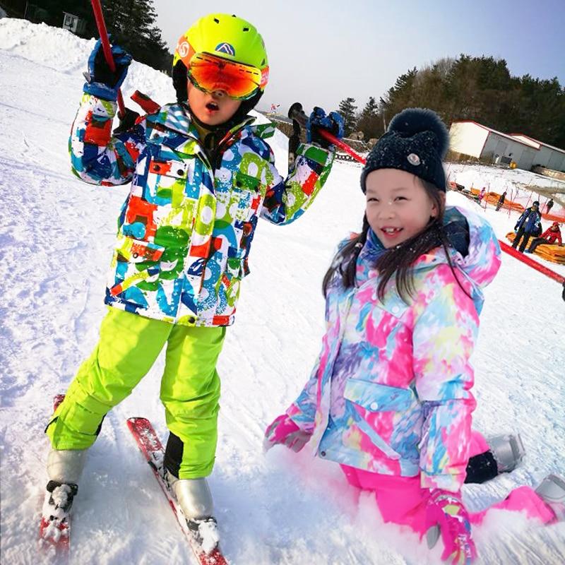 High Quality Kids Ski Suit Super Warm Boys Girls Ski Jacket Pants Set Waterproof Snowboarding Jacket Winter Children Skiing Suit