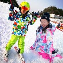 คุณภาพสูงเด็กชุด Super Warm ชายหญิงสกีชุดเสื้อแจ็คเก็ตกันน้ำเสื้อสโนว์บอร์ดฤดูหนาวเด็กเล่นสกีชุด