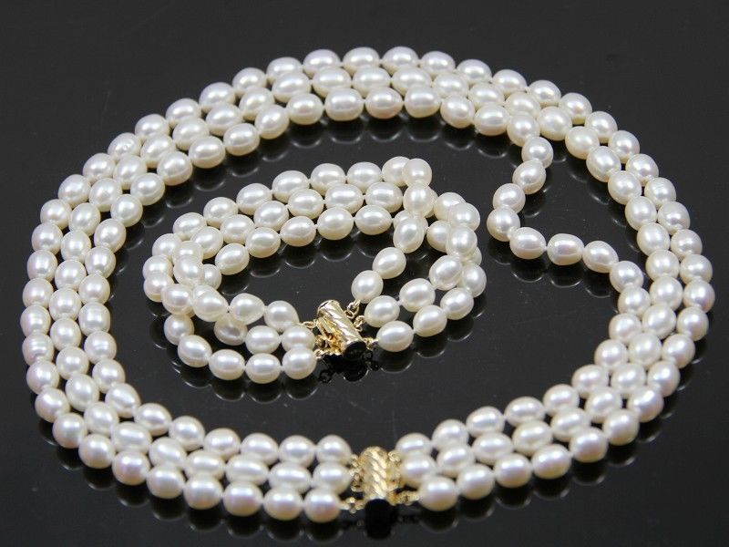 fashion 3 rows 8-9mm white oval freshwater cultured pearl necklace bracelet