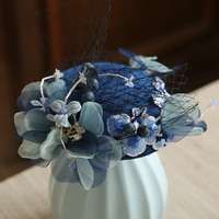 French Veil Blue Feather Tiara Elegant Vintage Charming Small Top Hat Party Wedding Cocktail Gauze Top Hat