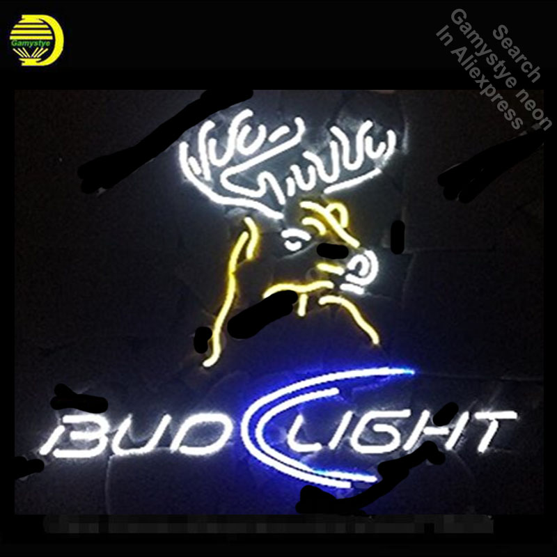 Bud Light Deer Neon Sign neon bulb Sign neon lights for Beer Bar Pub Room glass Tube Handcraft Lamps Iconic Sign store Display