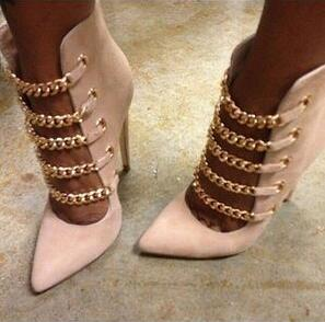 Spring summer cutouts high heel women boots pointed toe chains thin heel women ankle boots party dress shoes woman size 34 rizabina women spike heel ankle boots woman pointed toe high heel ladies gladiator tassel ankle strap botas mujer size 34 47