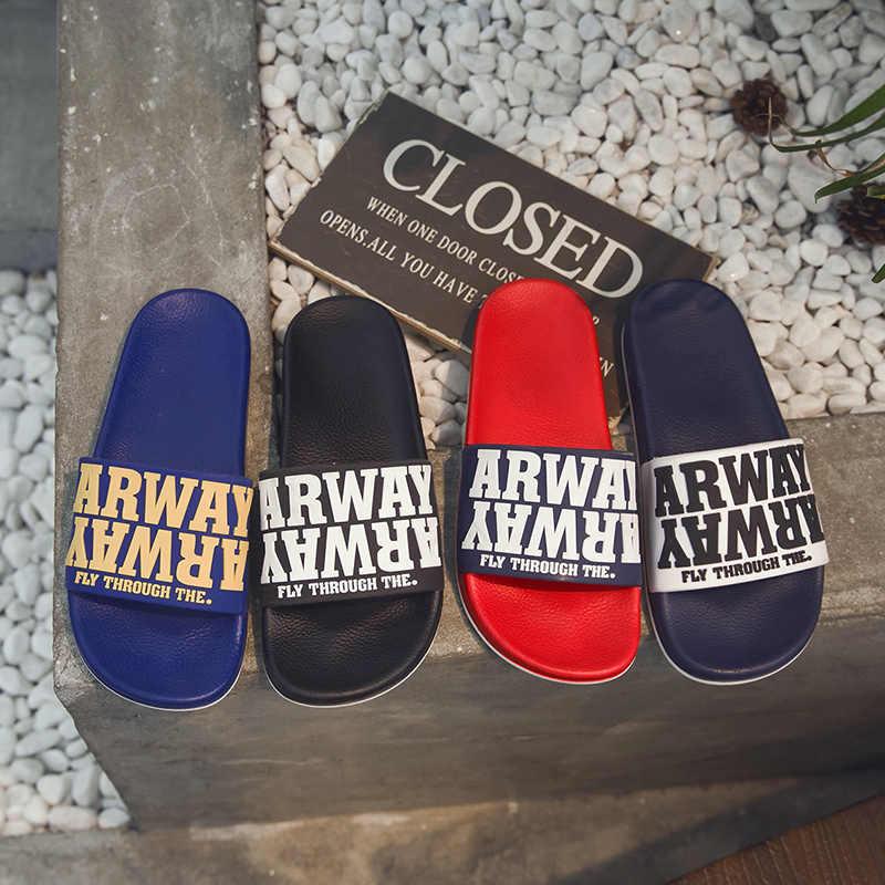 6d9cfd48d GLAZOV Brand Men s Slippers Plastic Men Shoes Couple Flip Flops Soft Black  And White Letter Casual