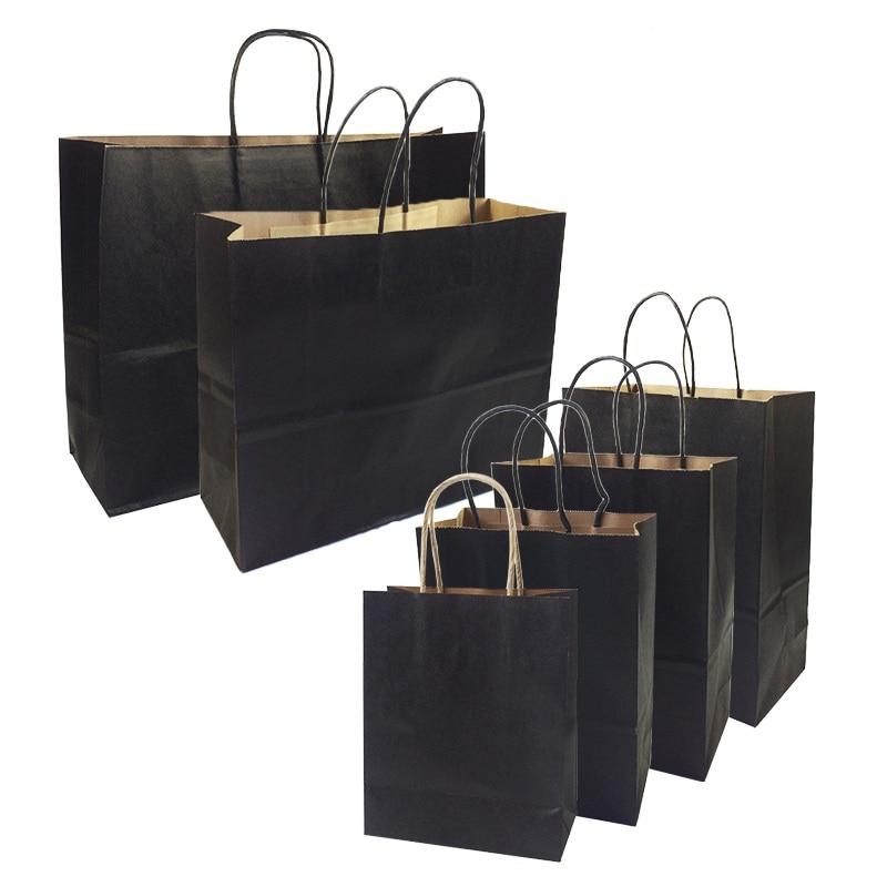 10 шт./лот, подарочные пакеты с ручками, многофункциональные высококачественные черные бумажные пакеты, 6 размеров, перерабатываемый пакет д...