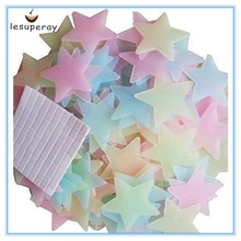 LESUPERAY 100pcs/bag 3CM Fashion Wonderful Solid Stars Glow in the Dark Kid's Bedroom Corridor Ceiling Fluorescent Wall Sticker(China)