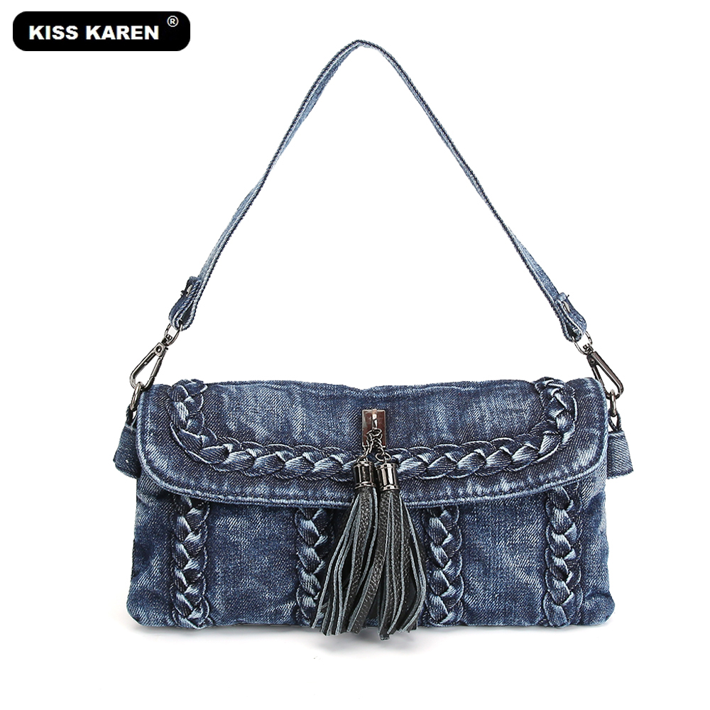 KISS KAREN Casual Fashion Women Bag Denim Purse Tassel Women's Shoulder Bags Women Messenger Bag Girls Crossbody Bags Jeans Flap denim vintage quilted across bag women s blue jean plaid stylish brand fashion flap chain crossbody shoulder bag purse handbag