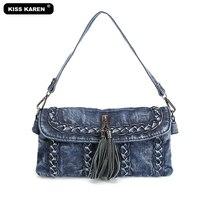 KISS KAREN Casual Fashion Denim Purse Tassel Women's Shoulder Bags Women Messenger Bag Girls Crossbody Bags Classic Jeans Bag
