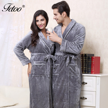 Fetoo 2017 Flannel Robe Autumn Winter Bathrobes for Women Men Lady's Long Sleeve Female Thick Sleepwear Llounges Homewear Pyjama(China)