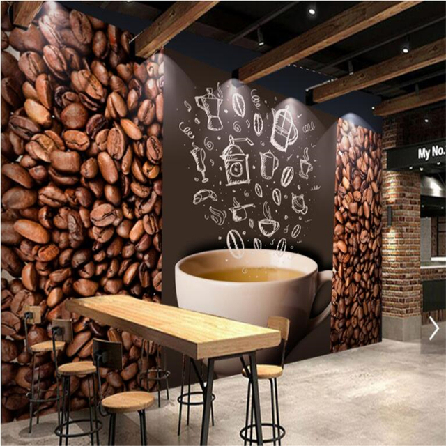 Beibehang wall murals hd nostalgic coffee beans cafe for Abstract mural wallpaper