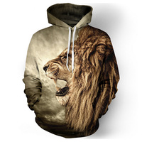 Hoodies Men2017 Latest Brand Clothing High Quality 3 D Printing Lion Hoodies Sets Off White Hip