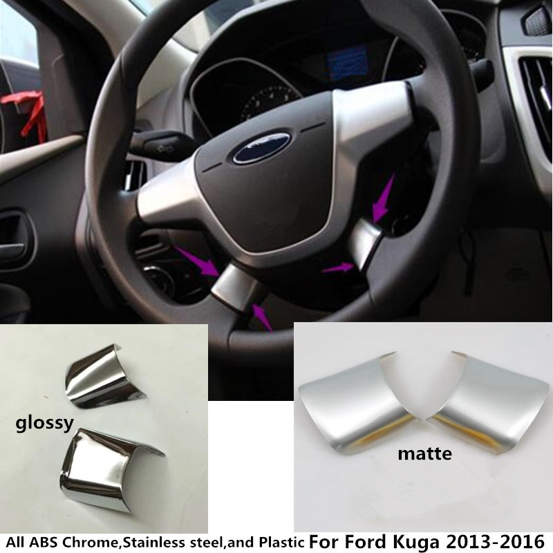 For Ford Kuga 2013 2014 2015 2016 Car Body styling inner detector stick Steering wheel Interior paillette refires hoods 2pcs