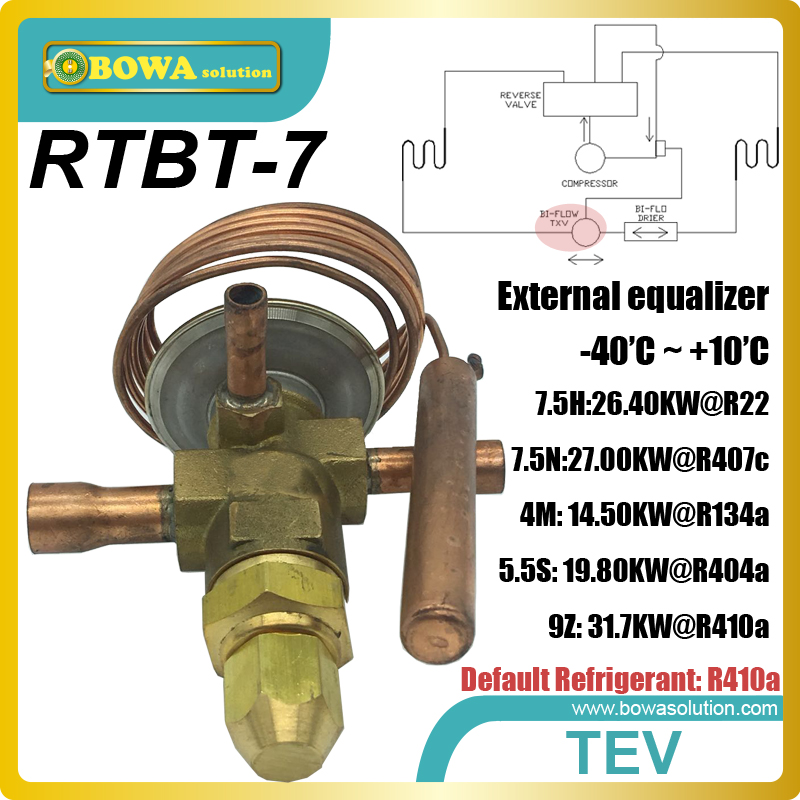 RTBT-7 bi-flow expansion valves with solder tubes is designed for constant temperature equipments, such as oil coolers univeral expansion valves suitable for wide cooling capacity range and different refrigerants fridge equipments or freezer units