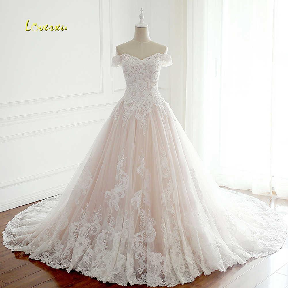Loverxu Vestido De Noiva Sexy Boat Neck A Line Wedding Dresses 2019  Appliques Beaded Pearls Chapel 654cb8c4aaf6