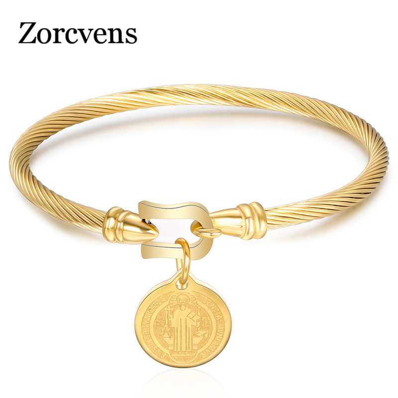 Saint Benedict Medal Cuff Charm Bangles Bracelets Gold/Silver Color Stainless Steel Wire Pulseira Bangle Jewelry for Women