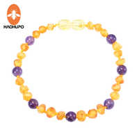 HAOHUPO Raw Amber Bracelet/Necklace with Amethyst for Baby Teething Authentic Natural Irregular Amber Beads Kid Women Jewelry