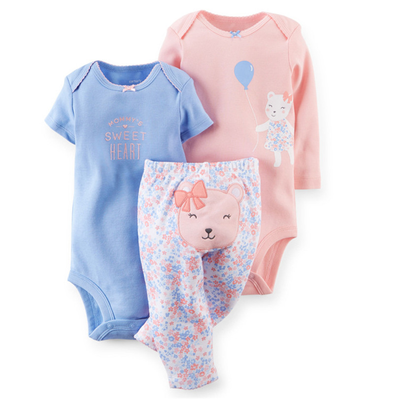 ZOFZ Baby girl clothes baby set newborn sport suit baby boy clothes print cotton 2018 New arrival cute baby 3 pieces set 4-24M 2017 new baby boy cloth 3 pieces lot