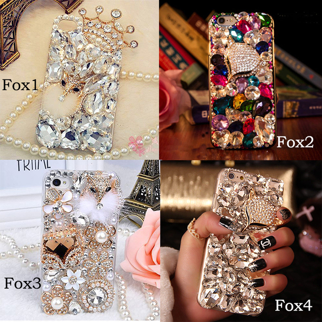 Fox luxo diamantes de bling casos de telefone para iphone7 para samsung s5 s6 s7 borda mais note3 4 5 gemas de cristal 3d voltar hard case cobrir