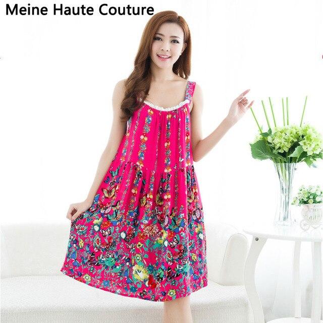 9128e7d900312 Women Cotton Nightgown Floral Sleep Dress Sleeveless Sleep Shirt Plus Size  Night Shirt Sexy Nightwear Casual