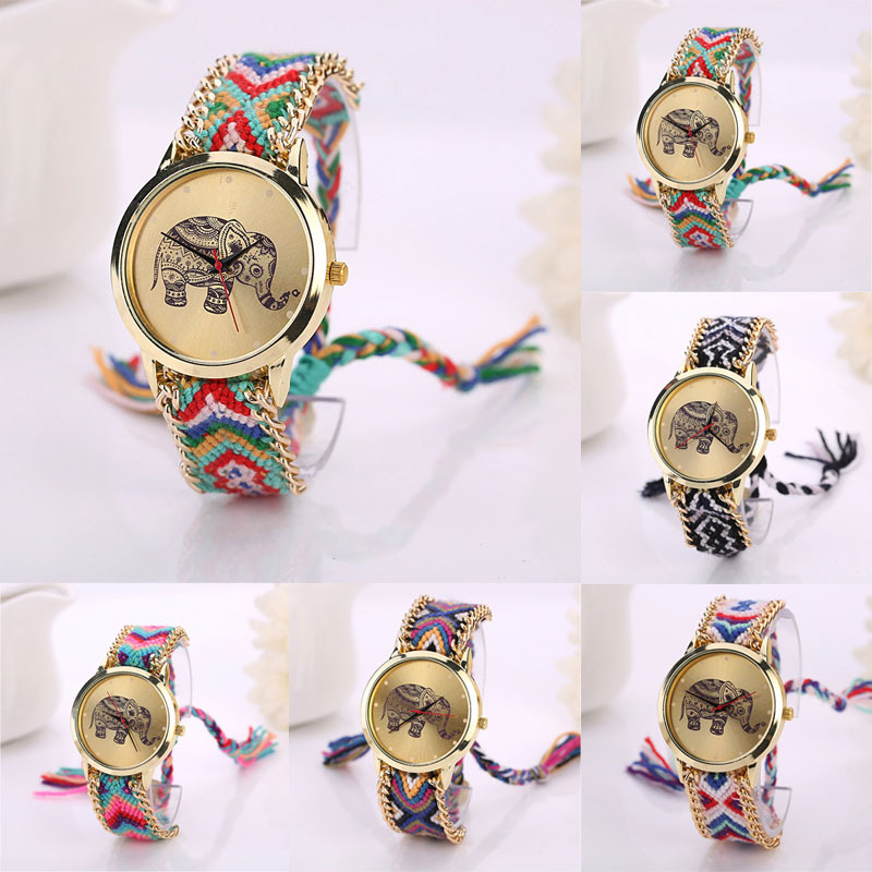 Gofuly Fashion Weaved Rope Band Bracelet Dial Quartz Watch Women 2017 Brand Luxury Famous Elephant Pattern Wristwatch Gift