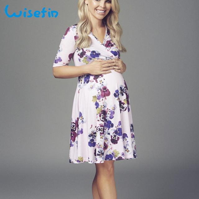 Wisefin Floral Printed Fancy Pregnancy Dresses Women Maternity Dresses Lactancia V Neck Pregnant Clothes Summer Ropa Embarazada
