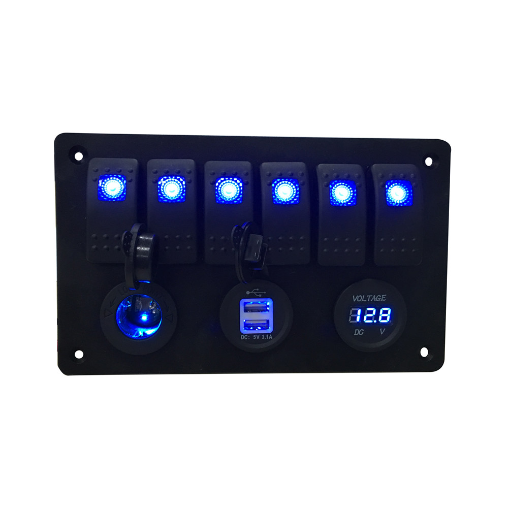 ФОТО Fit car boat Digital Voltmeter+12V power Socket +Double USB Power Charger Adapter blue 6 gang rocker switch Panel