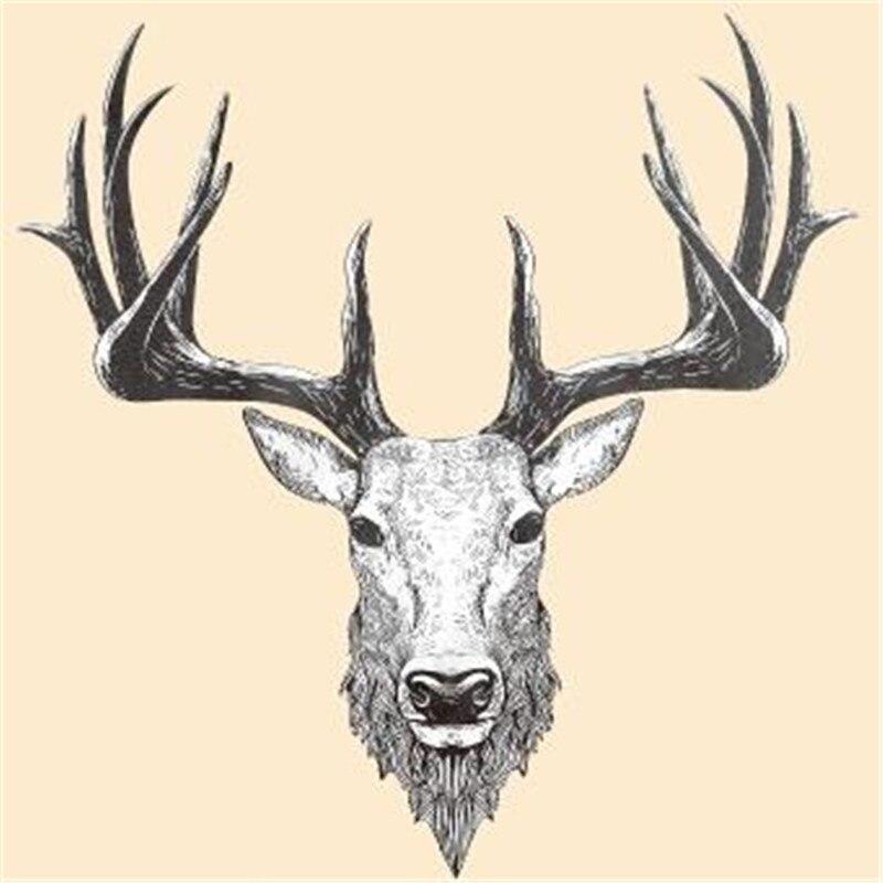 T shirt women patch 25cm deer head logo iron on patches for clothing transfer printing top - Dessin de tete de cerf ...