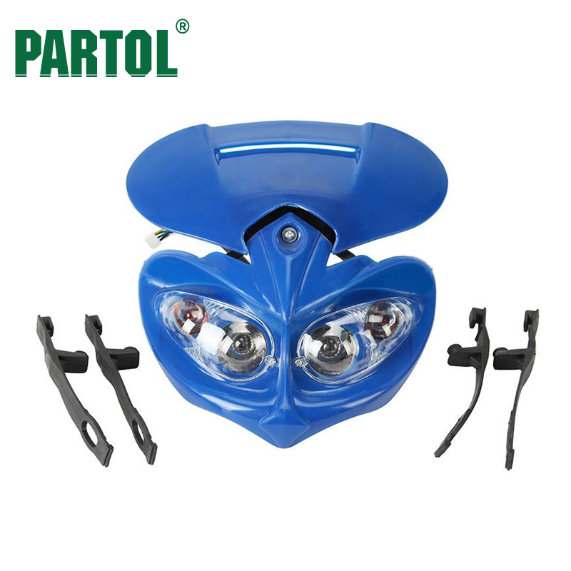 Partol Blue Motorcycle Headlight Fairing Street Fighter Moto Turn Signals High-Low Beam 12V For Honda Kawasaki Suzuki Kawasaki