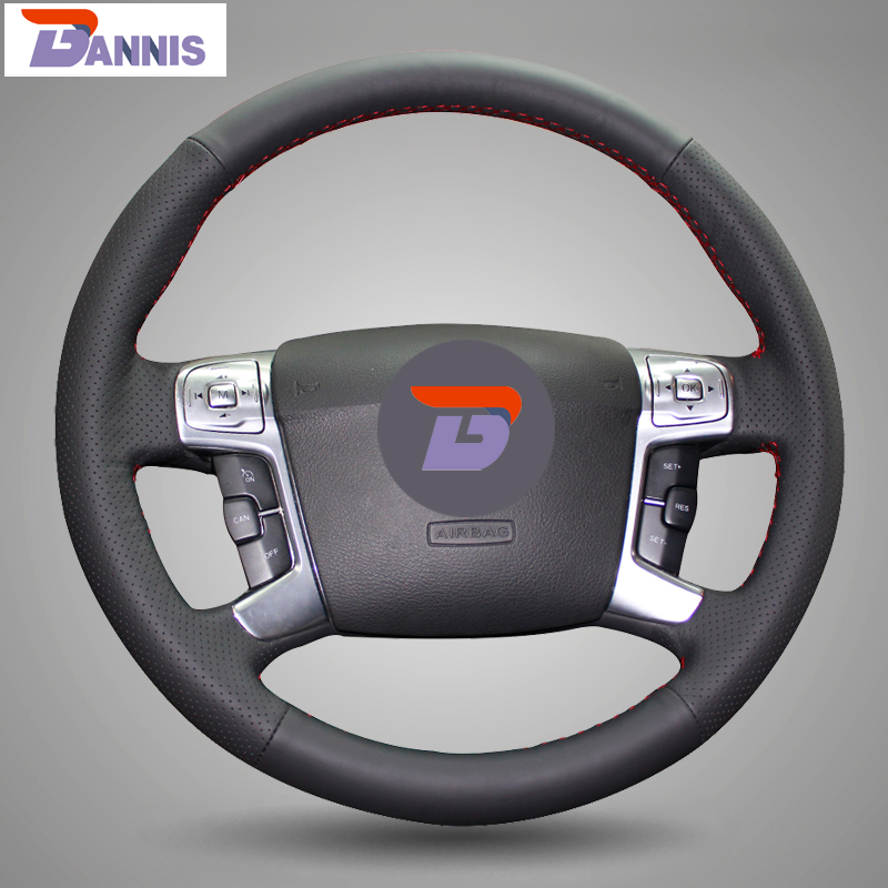 BANNIS Black Artificial Leather DIY Hand stitched Steering Wheel Cover for Mondeo 2007 2012 Mk4