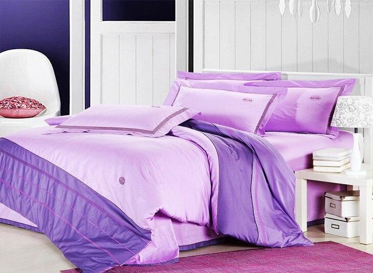 Romantic Solid Pink Purple 4pcs Bedroom Comforter Cover Set Queen