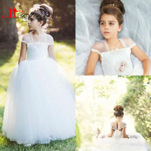 Flower Girls Dresses For Vintage Wedding Cap Sleeves Floor Long 2016 Princess Little Kids First Communion Birthday Party Gowns