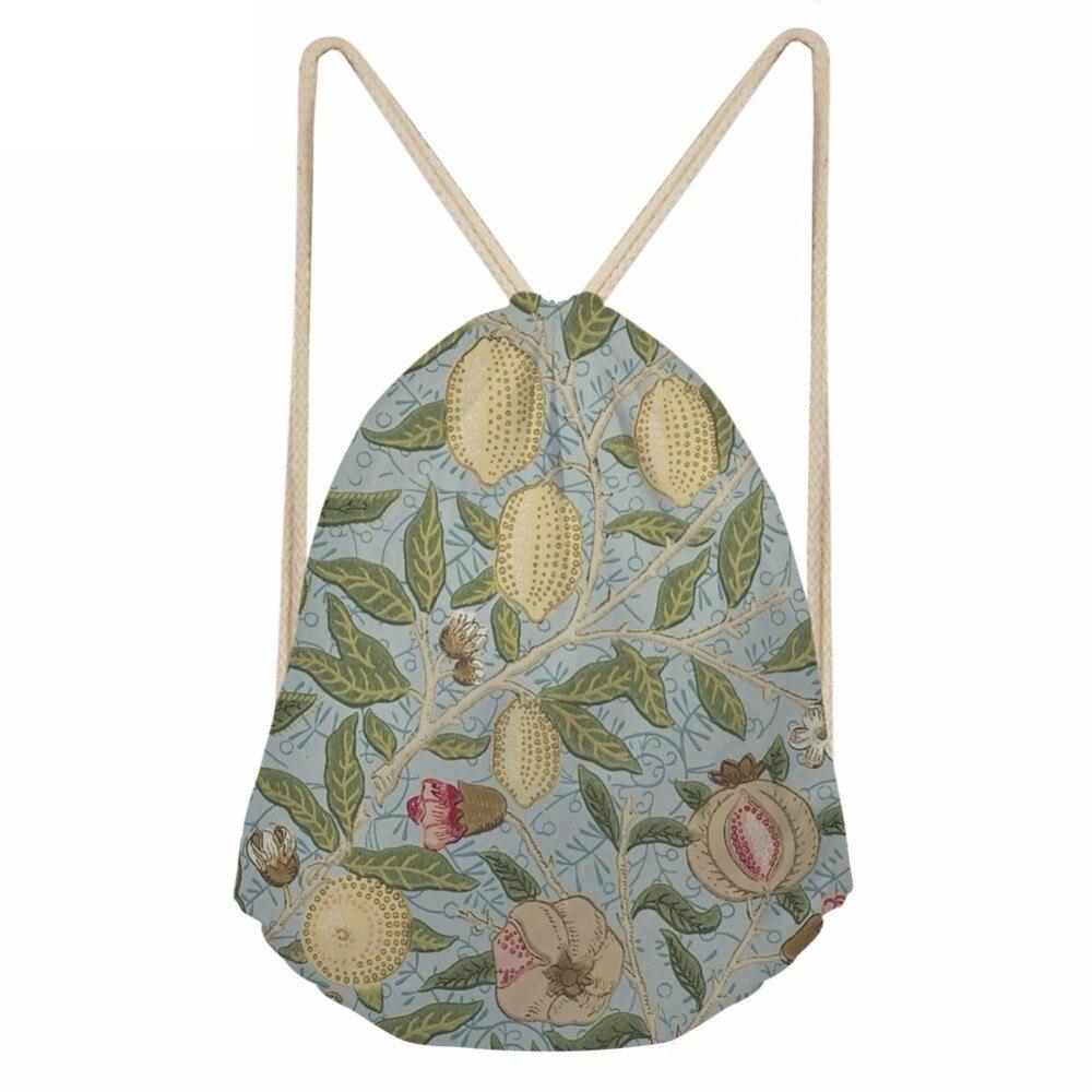 Vintage Style William Morris Floral Pattern Woman Drawstring Bags Multifunction Large Storage Sack Bags BackpacksSumka