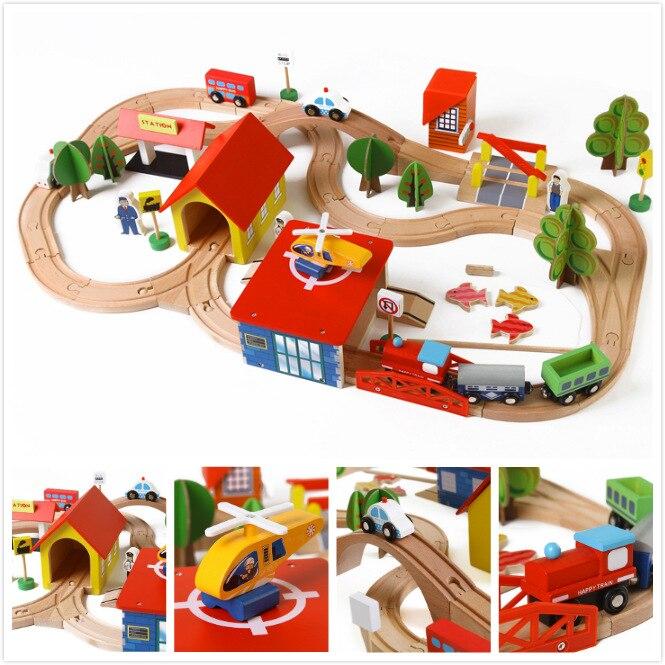 EDWONE 69 pièces jouet véhicules enfants jouets Thomas Train jouet voitures modèles en bois bâtiment fente voie Rail Transit Parking Garage