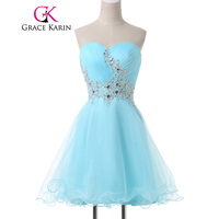 Grace Karin Mini Lace Short Cocktail Dresses Cute Light Blue Sexy Sweetheart Voile Satin Robe De Cocktail Prom Gowns Dress 2018