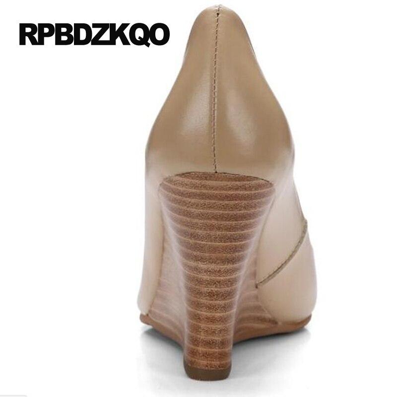 Größe 4 34 Damen Formale Schuhe High Heels Kleine Herbst Nude Pumps Keil Büro Spitz 2017 Echtem Leder Gericht echt - 4