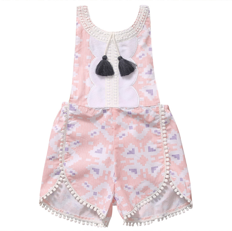 Cute Cotton Newborn Kids Baby Girl Sleveless Lace Romper Tassels Pink Jumpsuit Clothes Sunsuit Outfits 2017 cute newborn baby girl floral romper summer toddler kids jumpsuit outfits sunsuit one pieces baby clothes