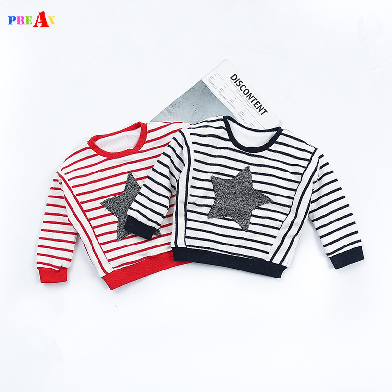 2018 New Design Boys T shirt Red Striped and Star Printed ...