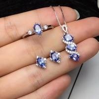 Free Shipping Natural Tanzanite jewelry set Natural Real Tanzanite 925 sterling silver 1pc pendant,1pc ring ,2pcs Earring