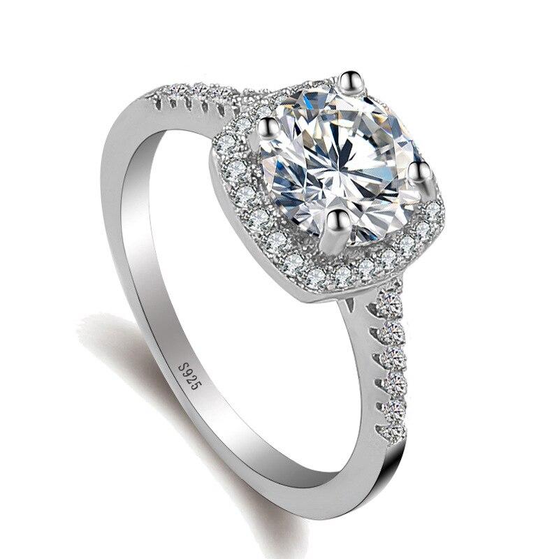 2 ct CZ Křišťálové prsteny Dámský prsten Bijoux stříbrná barva naplněné šperky Zirkonie Zásnubní claddagh prsten Pro ženy anillos mujer